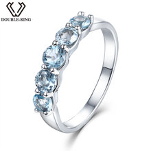 DOUBLE-R 2.35ct Natural Stone Blue Topaz Engagement Ring Women 925 Sterling Silver Gemstone Rings Fine Jewelry Female Gift hutang engagement ring 2 27 ct natural gemstone blue topaz solid 925 sterling silver fine fashion stone jewelry for women gift