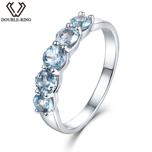 DOUBLE-R 1.16ct Nature Blue Topaz Rings 925 Sterling Silver Engagement Ring for