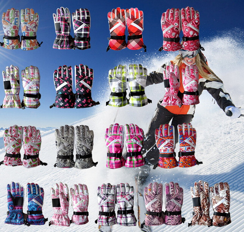 10 pairs/lot Women Snowboard Gloves Printing Warm Waterproof  Ski Gloves Cycling Climbing Adventure Camping Polyester Snow Glove grammar in practice 4