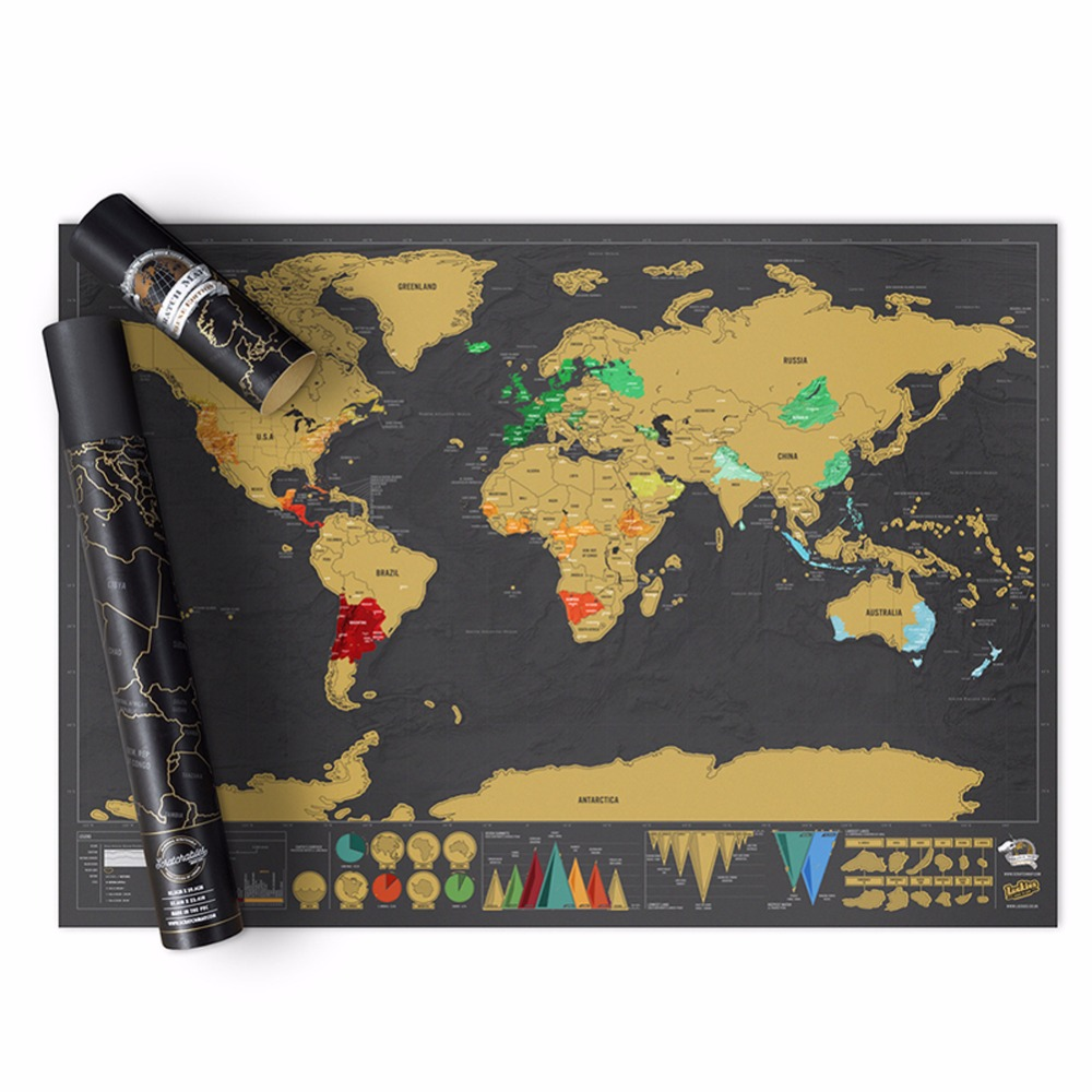 1 Pc Of Fashion Cool 82.5x59.4cm Scraping World Map For School And Office Supply