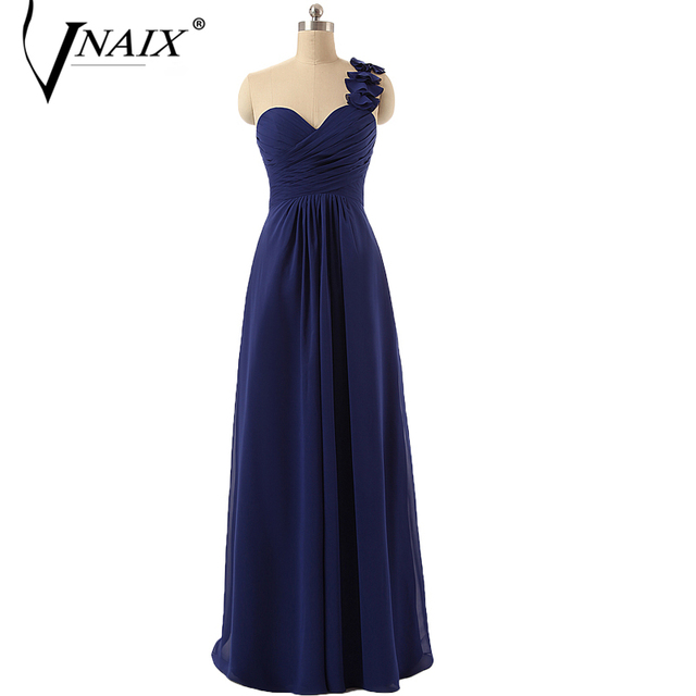 Vnaix B3011 Sweetheart With Flower One Shoulder A Line Chiffon Plus