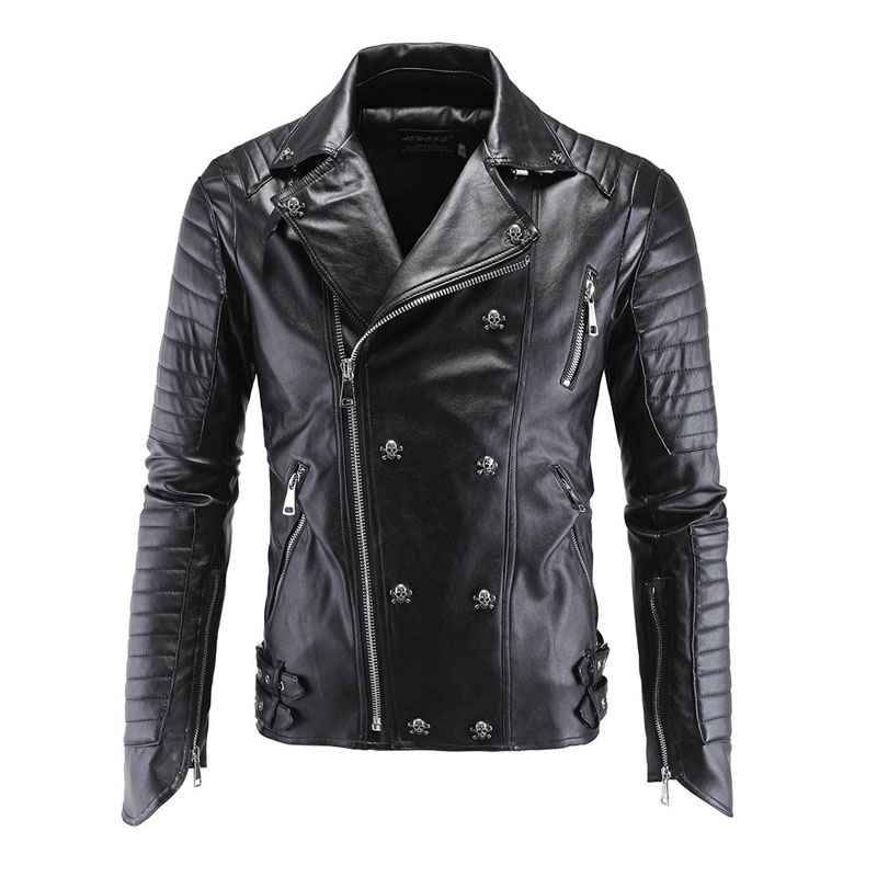 new arrival men's quilted side full zipper punk faux leather ...