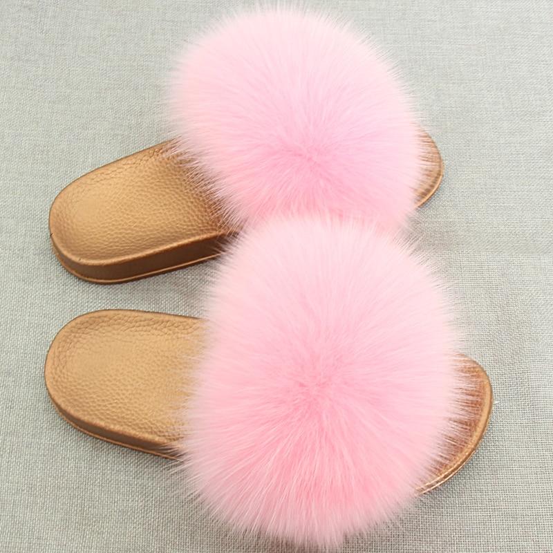 JKP Winter Warme Vrouwen Bont Slippers Mode Echte Vossenbont Strand - Baby schoentjes - Foto 3