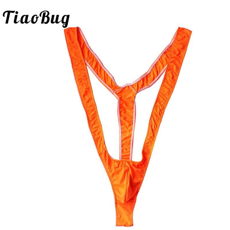 7dd4bbc99767 TiaoBug Hombre Lencería brillante verde naranja negro Sexy Mankini Tanga  profundo cuello pico hombres Borat para playa vacaciones traje de baño  Tanga ...