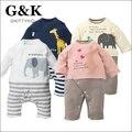 Mamelucos animales Moda infantil Ropa de Bebé recién nacido Niños Bebés de Algodón Lindo de la Historieta del Elefante Y la Jirafa Mamelucos Ropa de Bebé