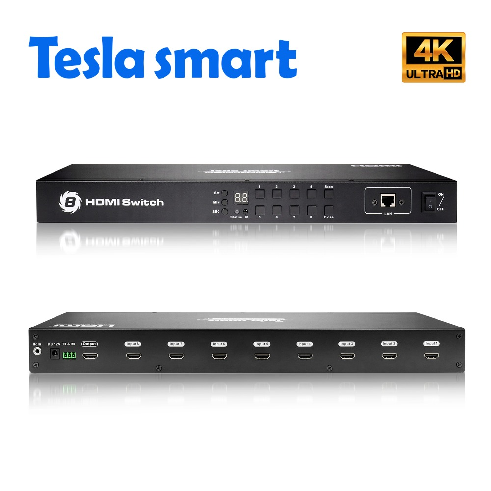 Tesla smart Rack Mount Video Audio HDMI Switch 8 Port HDMI Switcher 8 In 1 Out Support 3840*2160/4K цена и фото