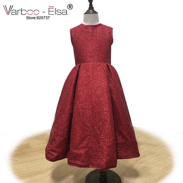 83513db308a VARBOO ELSA Glitter Burgundy Dazzling Children Gown Sleeveless O Neck  Flower Girl Dress 2018 Custom Baby First
