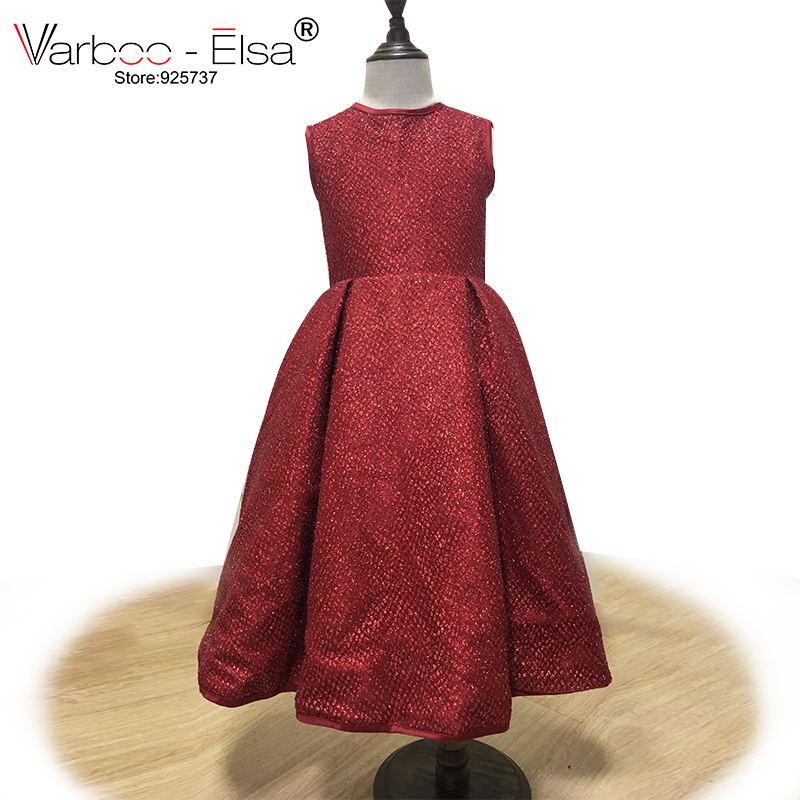 VARBOO_ELSA Glitter Burgundy Dazzling Children Gown Sleeveless O Neck   Flower     Girl     Dress   2018 Custom Baby First Communion   Dresses