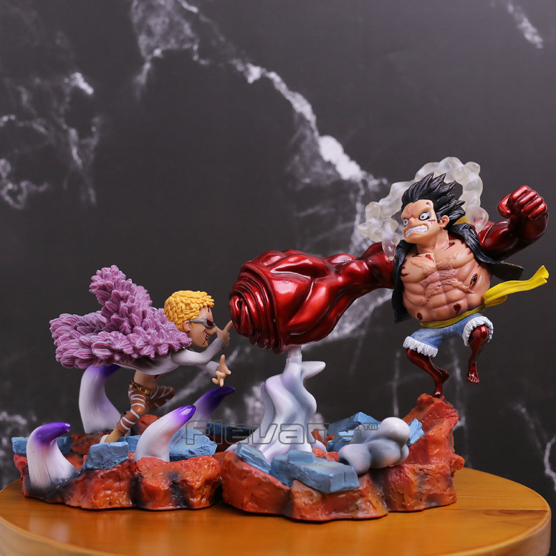 Anime One Piece Fourth Gear Luffy VS Doflamingo Fighting Ver. PVC Figure Collectible Model Toy anime one piece luffy vs trafalgar law 5th anniversary pvc action figure collectible model toy 16cm opfg511
