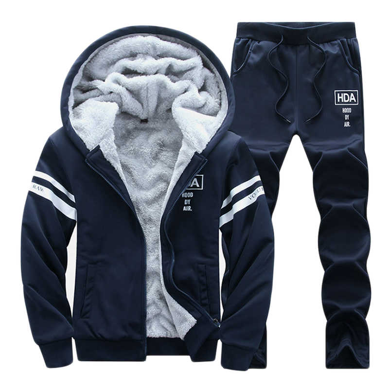 3b100467548 Мужской зимний толстый теплый спортивный костюм для бега Молодежный свитер  с капюшоном спортивная мужская одежда тренировочный