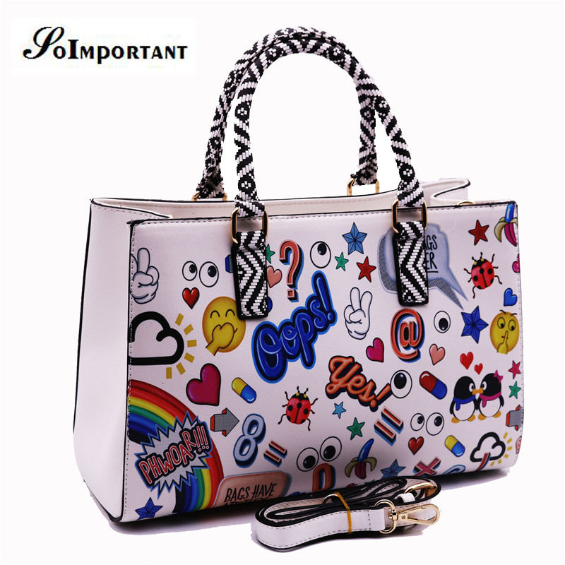 ФОТО Bag Women Leather Handbag Large Big Cartoon Printing High Class Messenger Crossbody Bag Women Anime Designer Brand Shoulder Bag