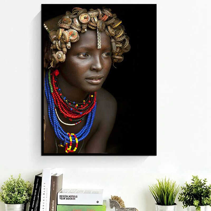 Giclee Canvas Prints Paintings African Women Portrait Photography Painting Modern Wall Art African Paintings for Living Room Wal