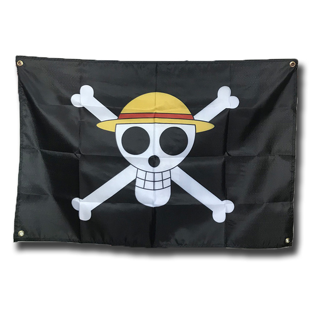 D Exhibition One Piece : 60*90cm japanese anime one piece pirate flag cosplay prop halloween