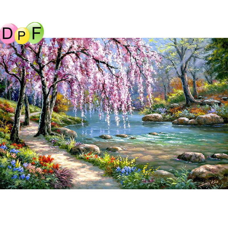 DIY Diamond Painting River Crystal Diamond Painting Cross Stitch Needlework Beautiful Weeping Willow Home Decorative for gift