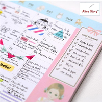 Cute Kawaii Doll Pattern Desk Note Pad Schedule Desktop Memo Pad Monthly Weekly Planner