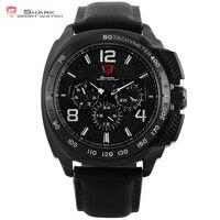 Tiger SHARK Sport Watch Luxury Full Black 6 Hands Date Leather Strap Men Quartz Waterproof Outdoor