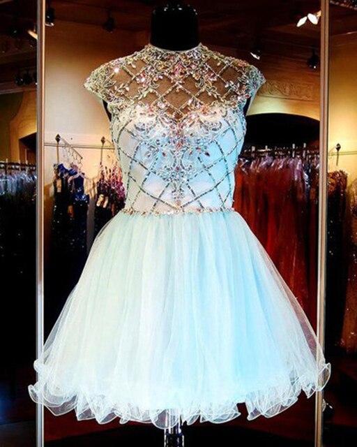 White Rhinestone Short Prom Dresses 2016 Brilliant Beaded Ball Gown Short Cocktail Dresses Short Graduation Summer Dress On Sale