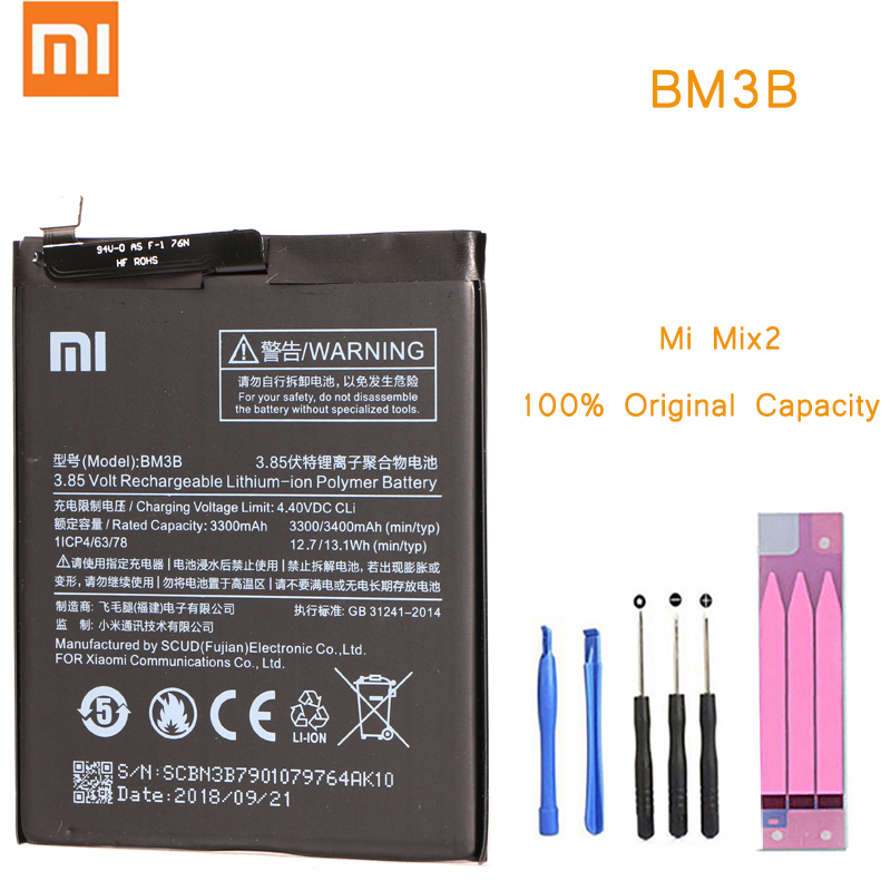 Original Phone <font><b>Battery</b></font> for <font><b>Mi</b></font> <font><b>Mix</b></font> 2 <font><b>2S</b></font> <font><b>Battery</b></font> Xiaomi <font><b>Mi</b></font> Mix2 Mix2s BM3B <font><b>Batteries</b></font> with Retail Package Bateria for MiMix 2 <font><b>2s</b></font> image