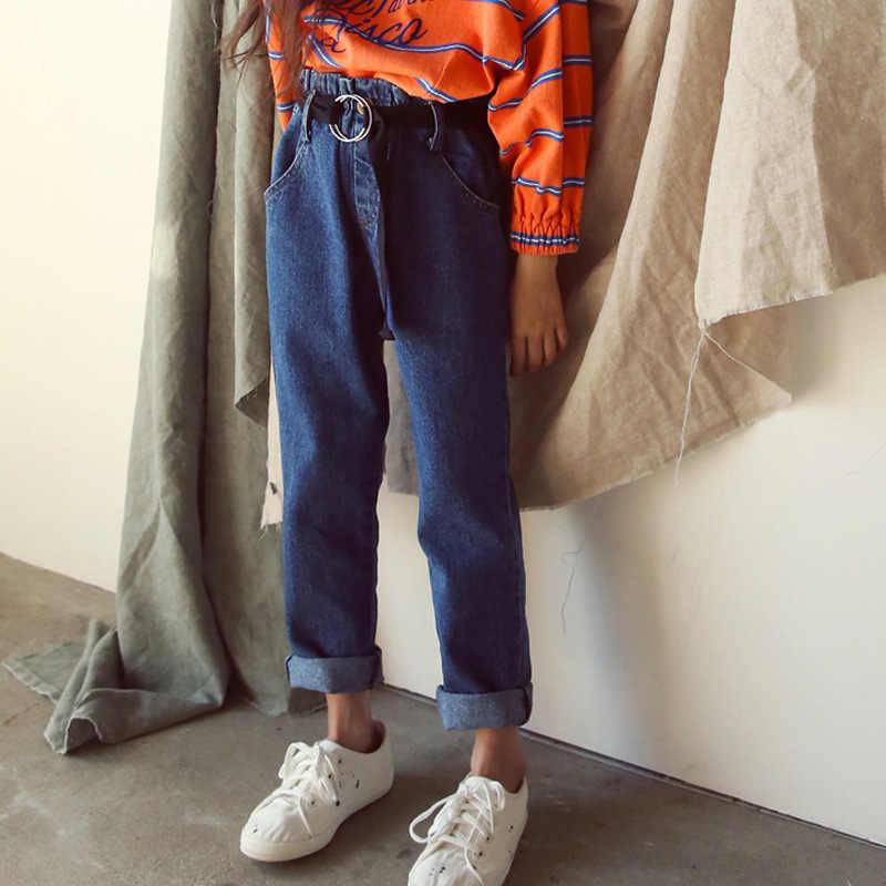 Yürümeye başlayan Kızlar Kot 2019 Bahar Yüksek Bel Pamuk Gevşek Kot Pantolon çocuk pantolonu Gençler Büyük Kızlar Giysileri Genç 10 12 14 15 16