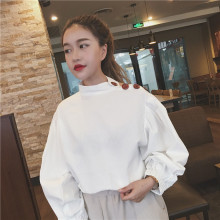 Free shipping Autumn stitching around the two buttons to wear loose collar strapless tops Korean women self portrait