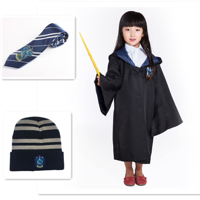Ainiel Movie Hermione Cosplay Costumes Gryffindor Slytherin Ravenclaw Hufflepuff Robe and Tie Hat Cape Cloak For Kids And Adult