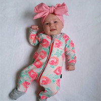 Spring Autumnm Rose Printing Cotton Baby Boys Girls Long Sleeve Rompers Jumpsuit Outfits Baby Boutique Clothing