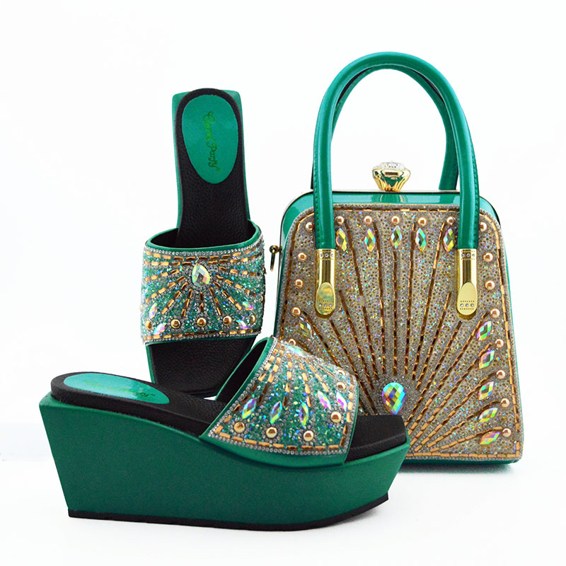 Fashionable Nigerian Shoes and Bag Set African Sets Teal Color Italian Shoes with Matching Bags for Wedding Party