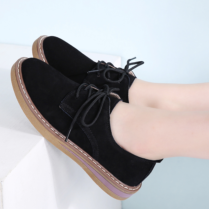 2018 Autumn women sneakers oxford shoes flats shoes women leather suede lace up boat shoes round toe flats moccasins 989
