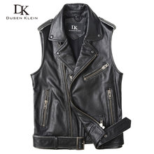 Motorcycle Vest leather jacket men Dusen Klein brand New 2017 Genuine Leather cowhide Short Slim Designer
