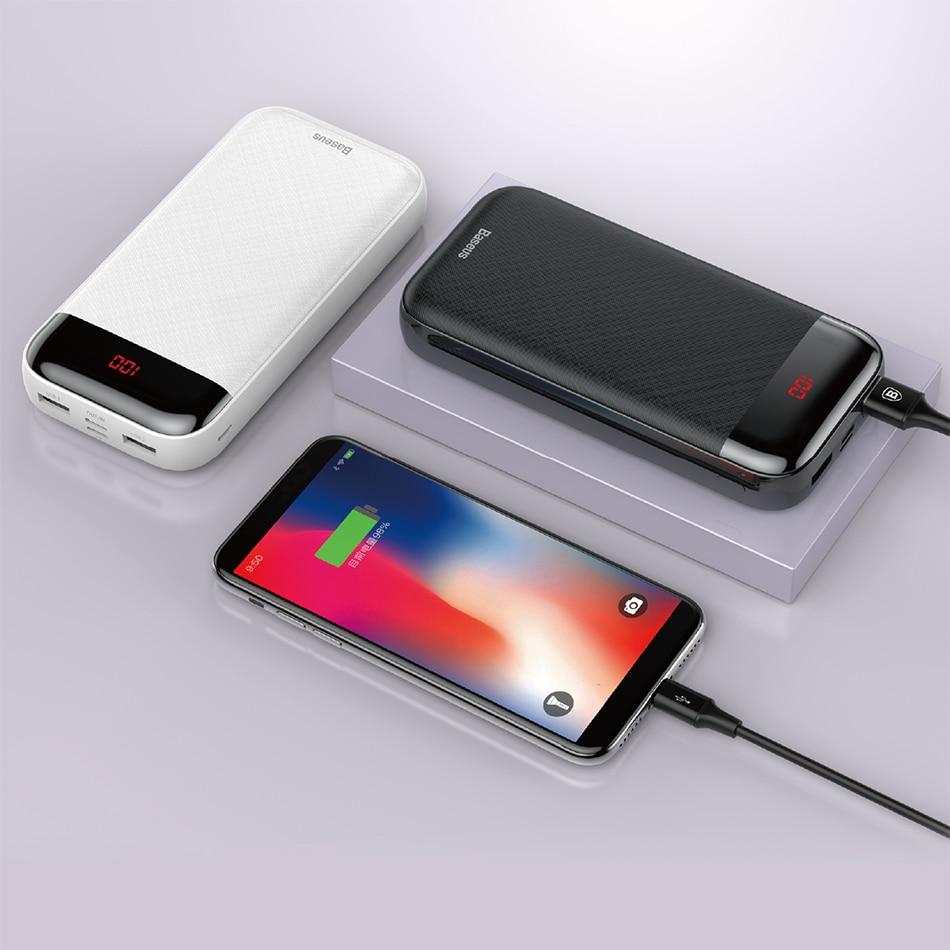 Baseus 20000mAh Power Bank 000 mAh LCD USB C PD Fast Charging Powerbank Portable External Battery Charger For Xiaomi Poverbank 9