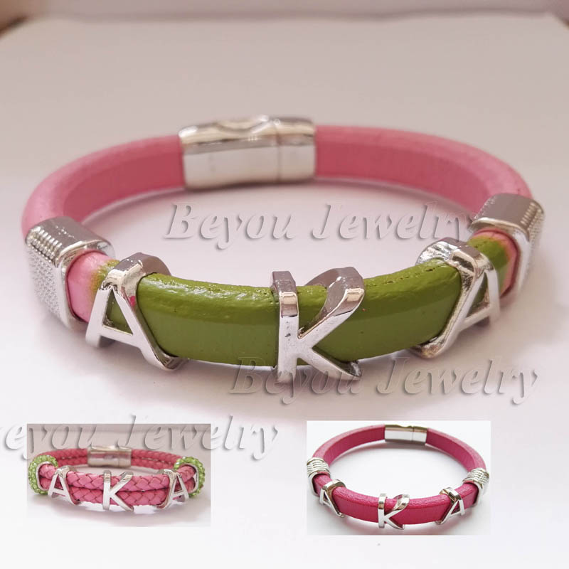 customized Alpha style Jewelry gift Alpha Kap Alpha Sorority divine Fraternity leather magnetic bracelet bangle