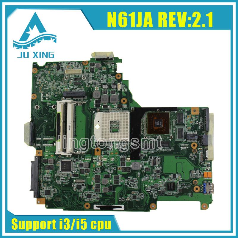 For Asus N61JA Laptop Motherboard REV:2.1 Mainboard Support i3/i5 cpu HD5730 1GB DDR3 VRAM 100% Tested