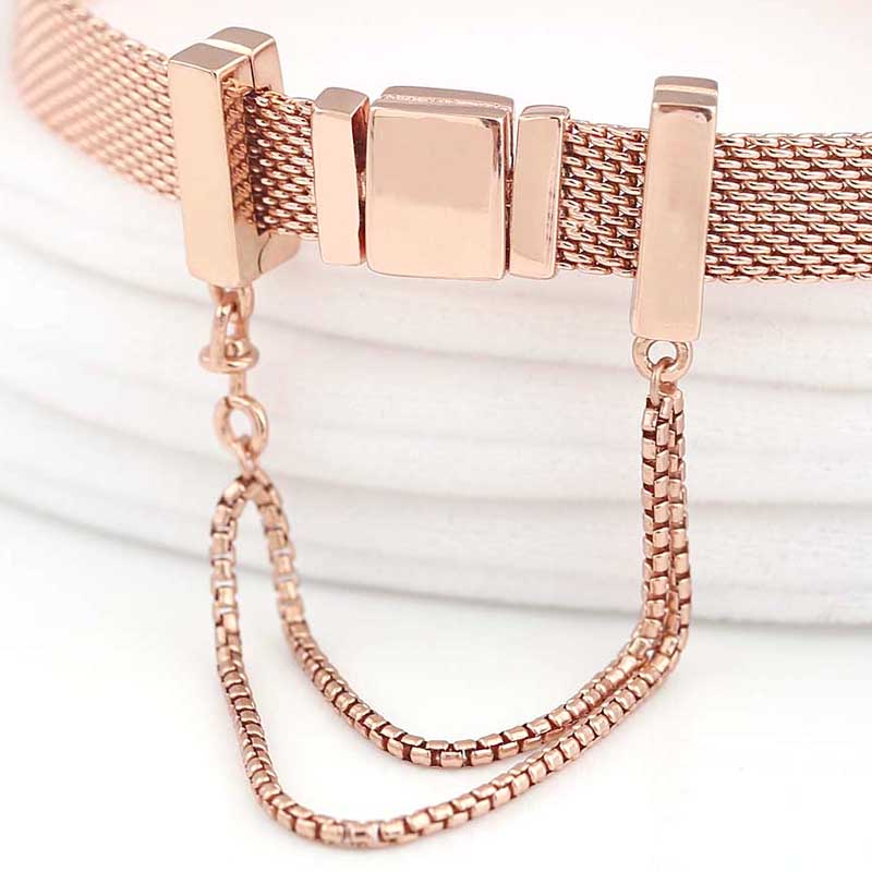 a7574cbfe New 925 Sterling Silver Bead Charm Rose Gold Reflexions Safety Chain Clip  Stopper Beads Fit Pandora Bracelet Bangle Diy Jewelry