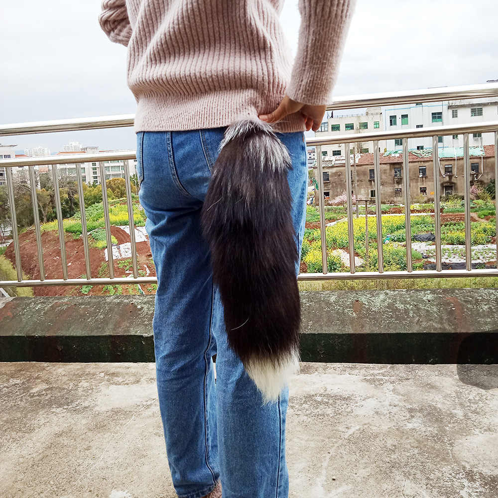 "OBN 18 ""Enorme Fofo 100% Real fox Cauda keychain Fur Tassel Saco Chave Do Carro anel Charme"