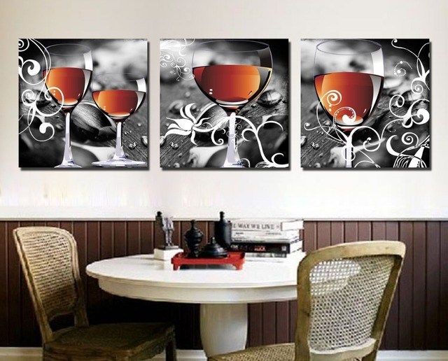 Cuadros Decoracion Household Wine Glasses 3 Piece Canvas Wall Art Paintings  For Living Room Dining Painting Part 77