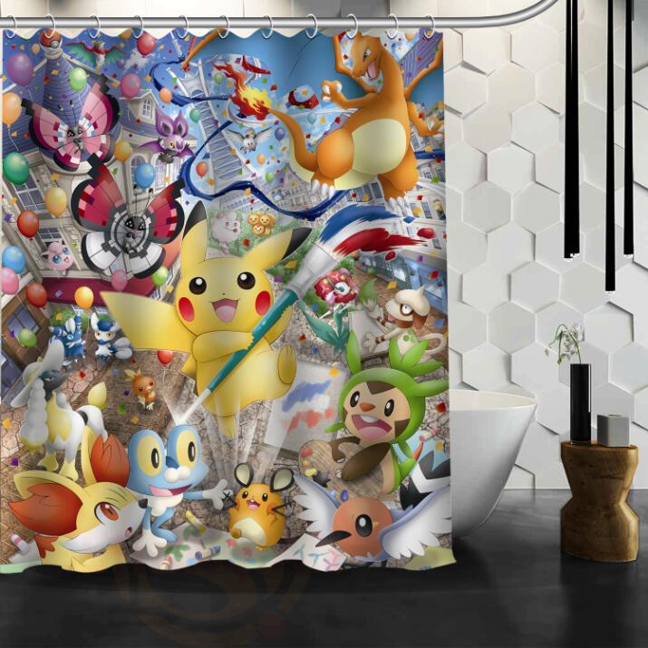 H+P#287 Hot Sale Pokemon#2 Custom waterproof Shower Curtain Bathroom decor more sizes SQ01003@H0287