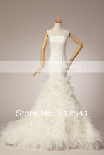 Actual Images Lace Bandage Wedding Dresses Mermaid Strapless Organza Pleat Sweep Trian yk8R273