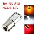 1156 G18 Ba15S BAU15S P21W PY21W 4 COB Amber White Red Ice Blue LED Turn Signal Rear Light Car Bulb Lamp 1157 BAY15D P21/5W