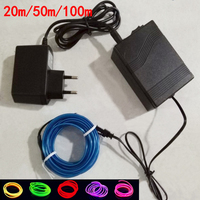 1m 3m 5m Led Neon Light Car EL Wire Glow Wire Rope Tape Tube Strip 12V