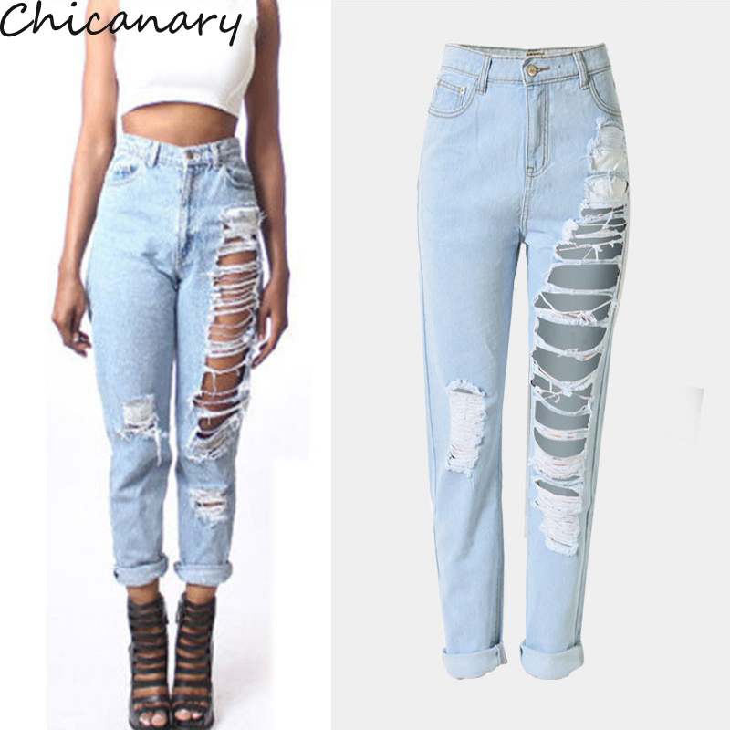 Women s Jeans Femme Denim Pipped Pencil Long Pants Sexy Hole 2016 Summer Jeans Fashion Women