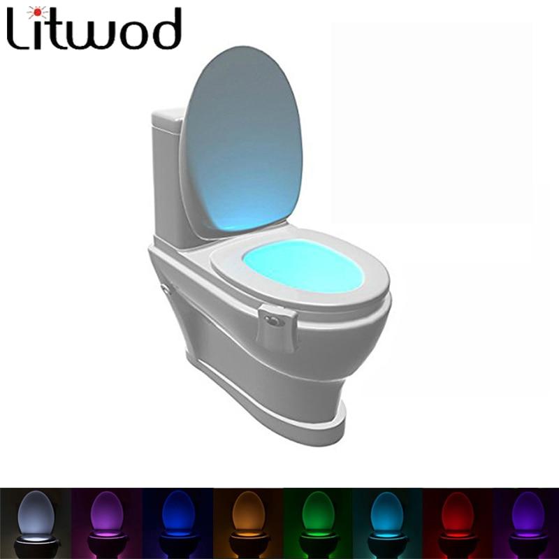 Veilleuse pour toilettes lampe à Led nuit, Rgb, ampoules de 8 couleurs, à pile sèche d'urgence, carte d'ambiance, Aaa Litwod