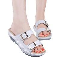 패션 여성 여름 샌들 웨지 버클 플랫폼 슬리퍼 여성 비치 신발 Chaussure 팜므 플립 Sandalias 크기 42