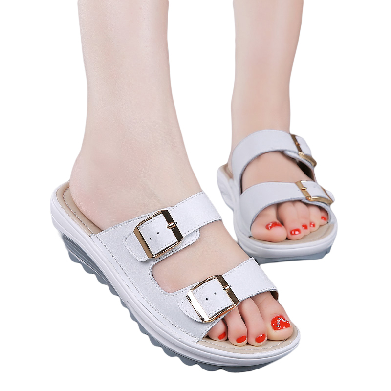 Fashion Women Summer Sandals Wedges Buckle Platform Slippers Ladies Beach Shoes Chaussure Femme Flip Flops Sandalias Size 42 hot fashion summer women shoes women s metal c flat sandals female summer slippers flip flops ladies beach sandals femme chinelo