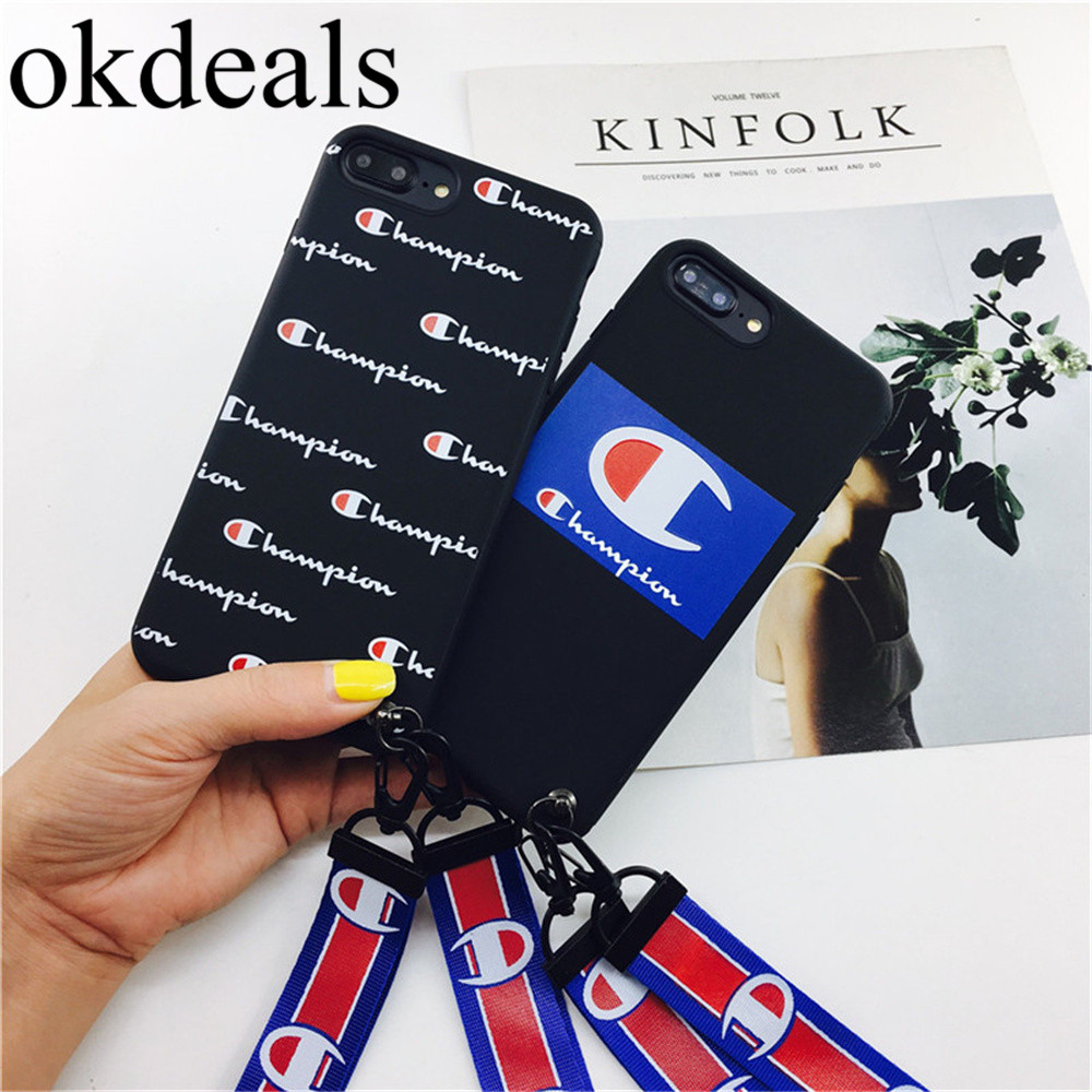 Fashion High quality soft Case For iphone 7 7 plus Champion brand Pattern Letters Case For iPhone 6 6S 8 plus Couples Back Cover