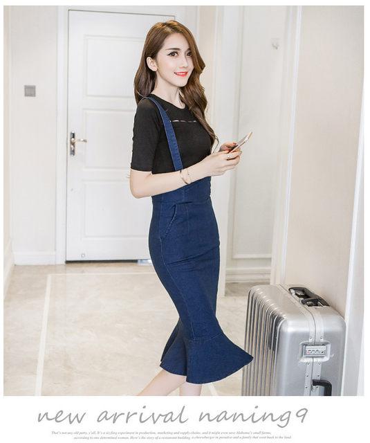 8b1b60cb6ce Online Shop Womens Mermaid Jeans Brace Skirts Woman Midi Long Jeans ...