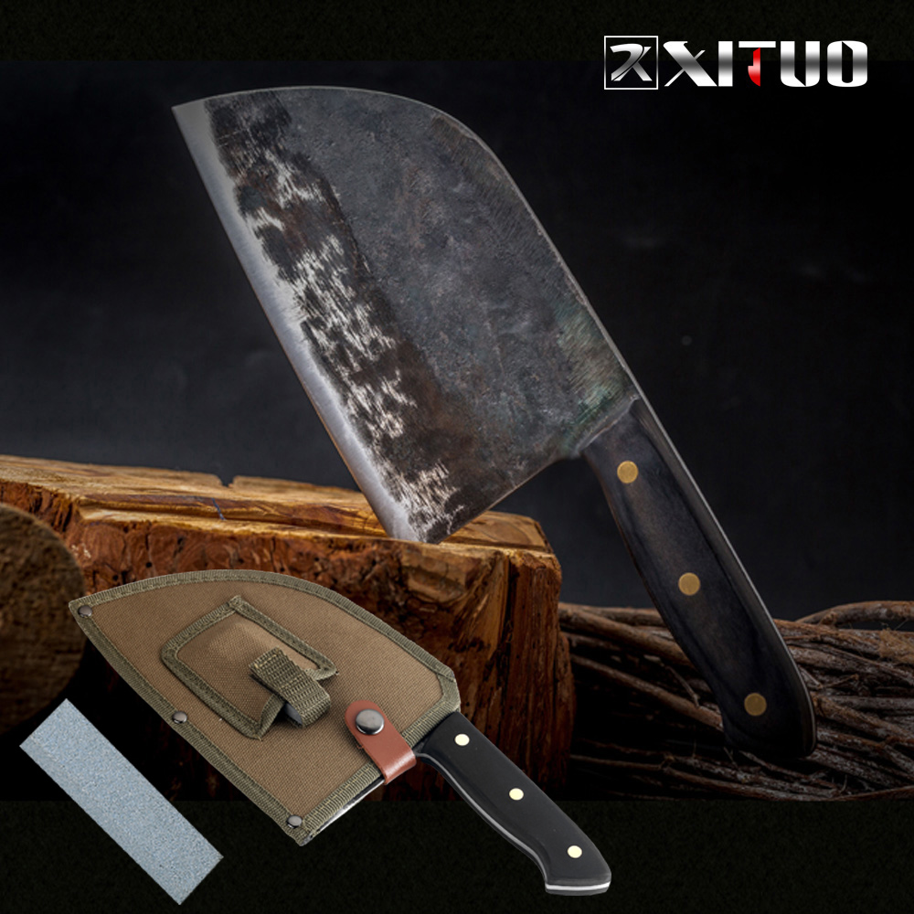 XITUO Handmade Forged Chef Knife High carbon Clad Steel Chinese Cleaver Kitchen Knives Chopper Meat Slicing Nakiri Gyuto Tool CN|Kitchen Knives|   - AliExpress