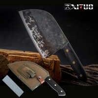 XITUO couteau de Chef forgé à la main en acier plaqué à haute teneur en carbone couperet chinois couteaux de cuisine hachoir viande tranchage Nakiri Gyuto outil CN