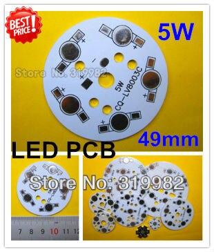 30pcs/lot, 5W LED PCB, 49mm for 5pcs LEDs, aluminum plate base, Aluminum PCB, LED DIY Printed Circuit Boards, high power 5W PCB