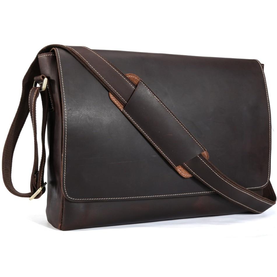 TIDING Luxury Genuine Crazy Horse Leather Men Messenger Bag Retro Shoulder Bag Cowhide Leather 15″Laptop Briefcase Crossbody Bag