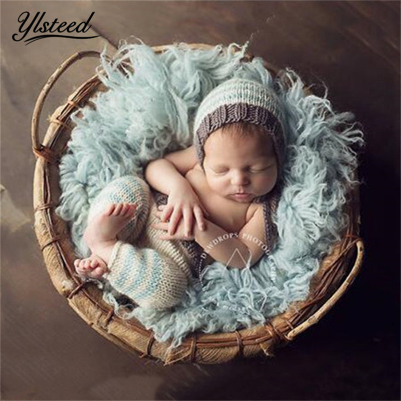 Newborn Baby Photography Props Blue Striped Crochet ...  |Baby Boy Newborn Photography Props